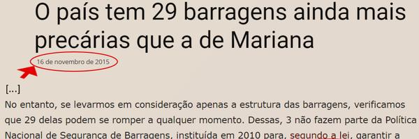 Brumadinho: Quem poderia ter agido para evitar* é o responsável por essa ecocatástrofe, não única, não rara no Estado de Minas Gerais.