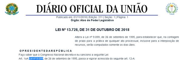 Sancionada lei que estabelece a contagem de prazos em dias úteis nos Juizados Especiais