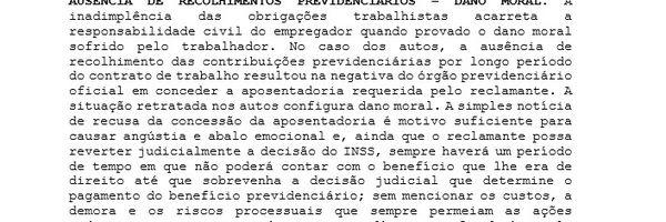 Ausência de Recolhimento Previdenciário - Dano Moral - R$ 10.000,00