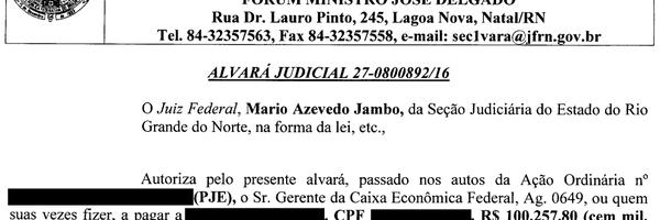 Alvará Judicial de cliente que recebeu R$ 100 Mil reais com a Ação de Cobrança do PASEP