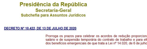 Decreto n. 10.422 de 13 de julho de 2020, altera legislação trabalhista.