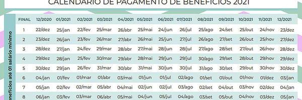 Calendário de pagamento dos benefícios dos INSS para ano de 2021