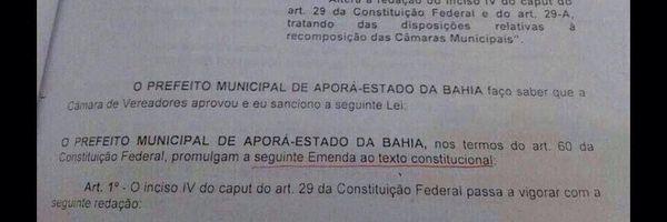 Lei do município de Aporá altera o artigo 29 da Constituição!
