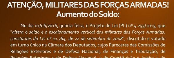 Militares das Forças Armadas: aumento do SOLDO!