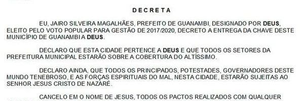 Prefeito de Município na Bahia decreta que a cidade pertence a Deus