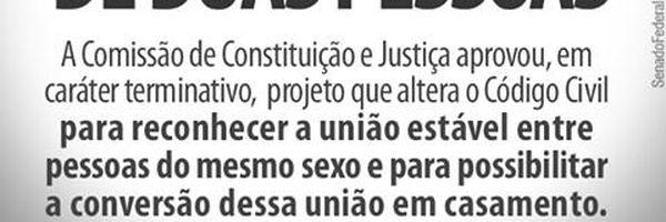 """Casamento é União- O texto aprovado retira a expressão """"homem e mulher"""", substituindo-a por """"duas pessoas"""", em diversos artigos do Código Civil"""