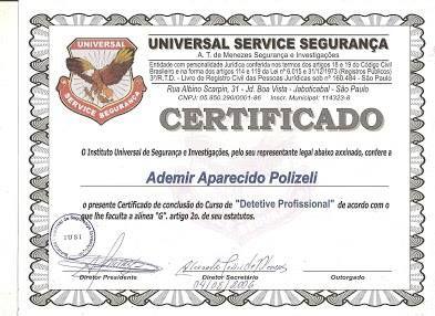 Modelo De Certificado de Detetive Profissional