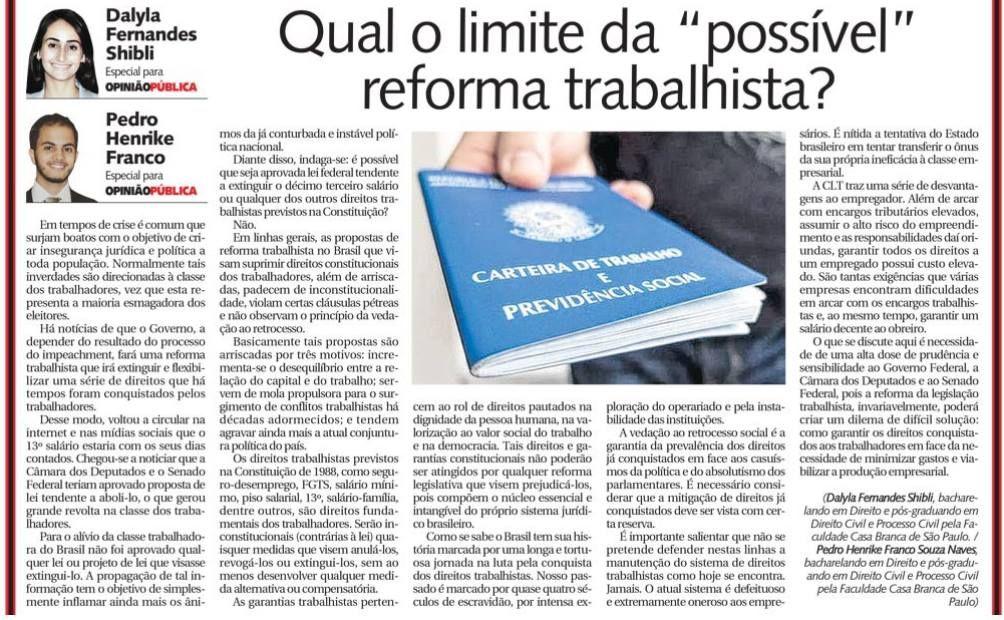 """Qual o limite da """"possível"""" reforma trabalhista?"""