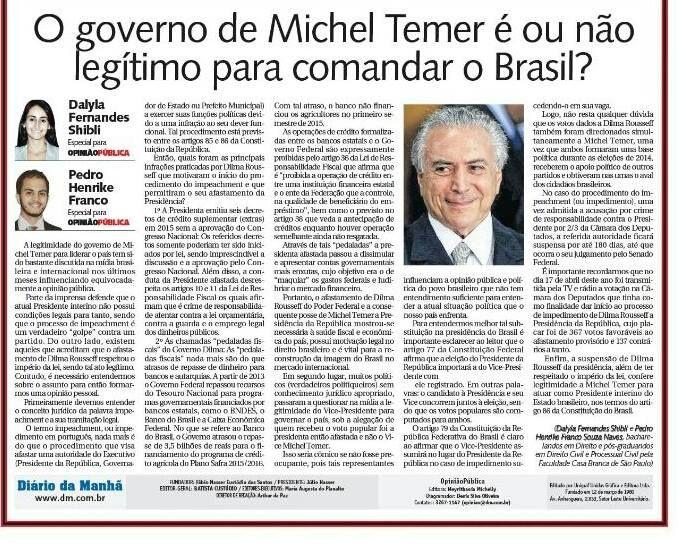 O governo de Michel Temer é ou não legítimo para comandar o Brasil?