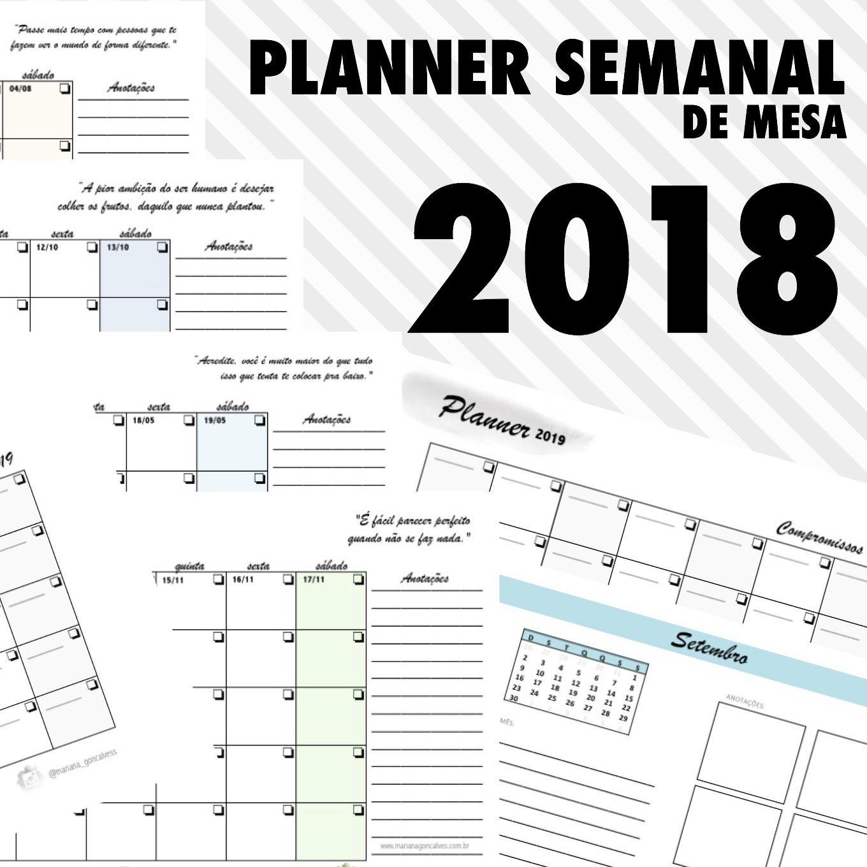 Planner Semana de mesa 2018