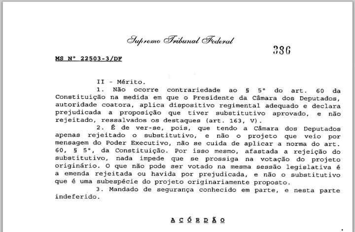 Legislativo X Judicirio Em duas aes o STF se pronunciar acerca da melhor interpretao para o art 60 pargrafo 5 da CF - entrevista
