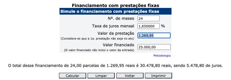 Calculadora do Banco Central do Brasil para Financiamento com Prestaes Fixas
