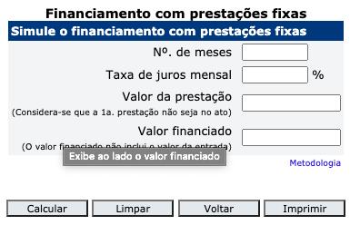 Calculadora de Financiamento Online Banco Central do Brasil