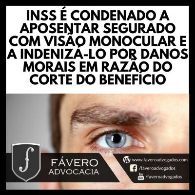 INSS CONDENADO A APOSENTAR SEGURADO COM VISO MONOCULAR E A INDENIZ-LO POR DANOS MORAIS EM RAZO DO CORTE DO BENEFCIO