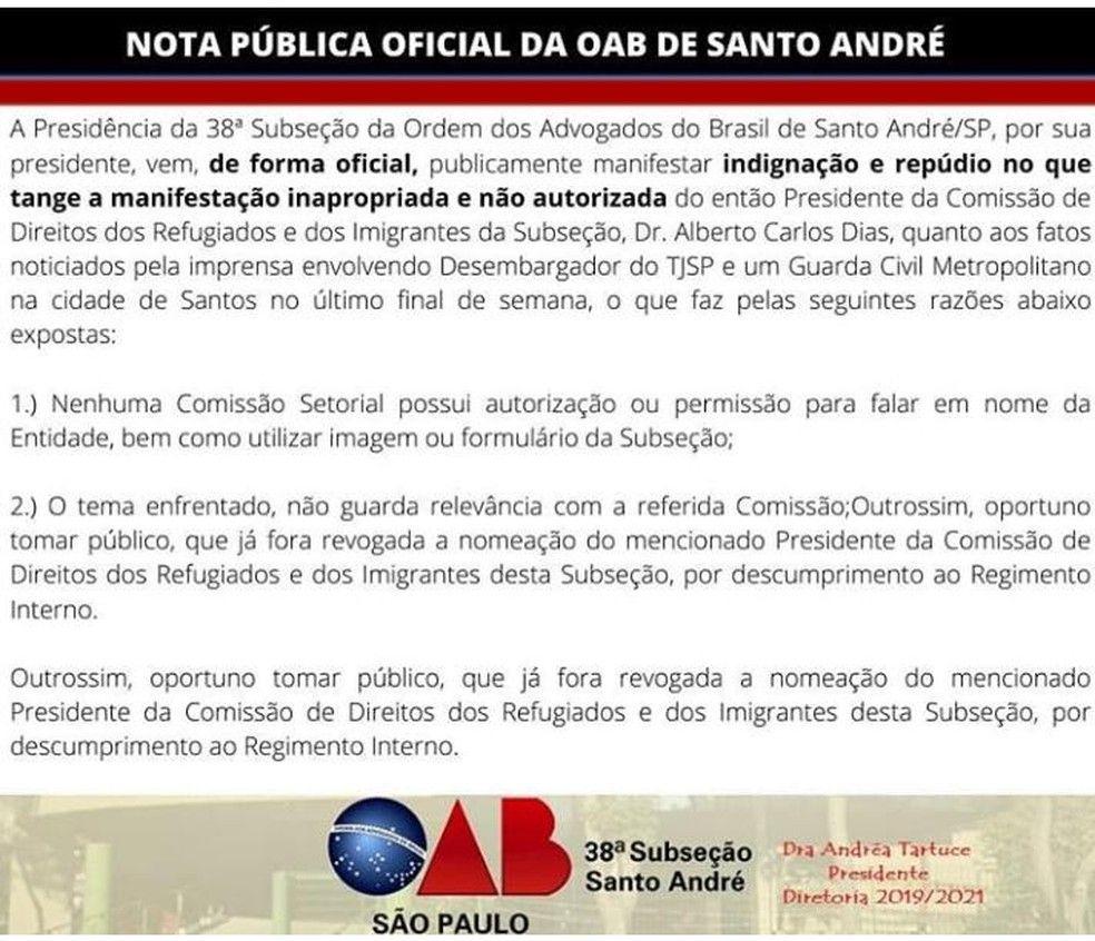 OAB Santo Andr divulga nota de repdio manifestao inapropriada de comisso Foto Reproduo