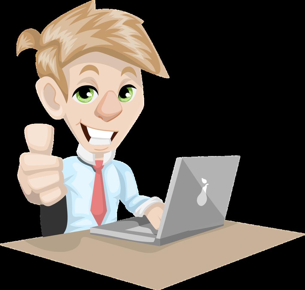 desenho de um homem loiro sentado em uma mesa fazendo o sinal de positivo com a mo direita e utilizando um notebook com a mo esquerda