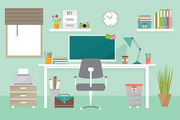 Illustration Home Office Clipart