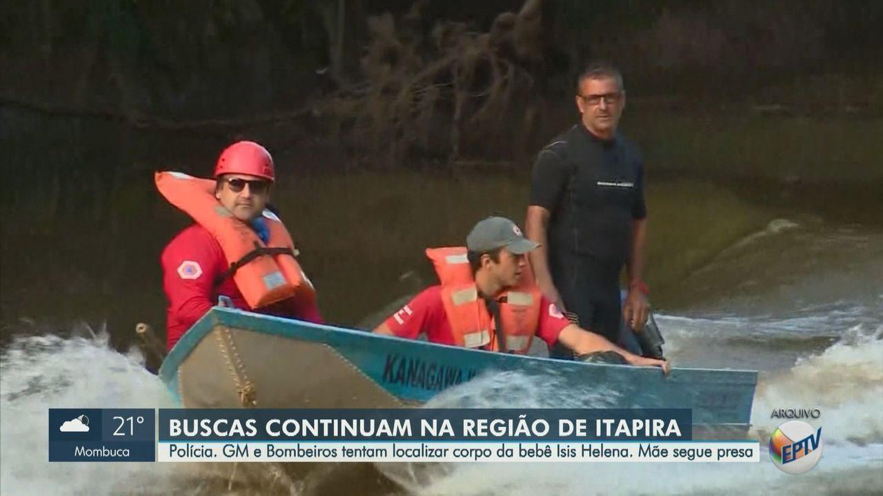 Equipes fazem buscas pelo corpo da beb sis Helena em Itapira