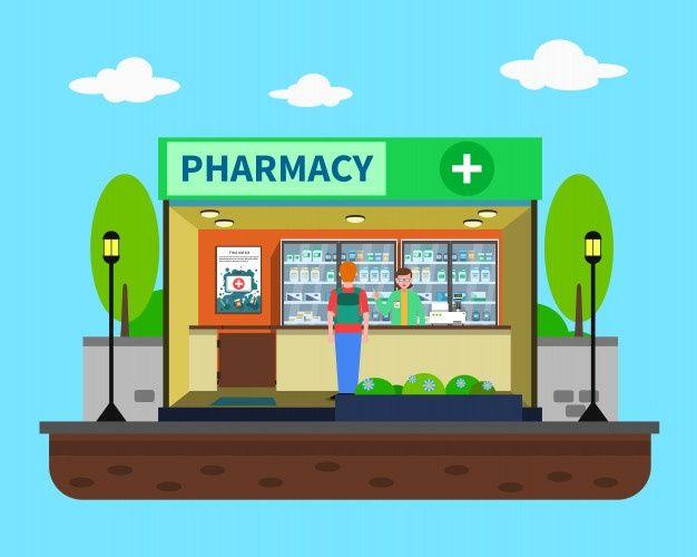 Desenho de edifcio de drogaria Vetor Premium