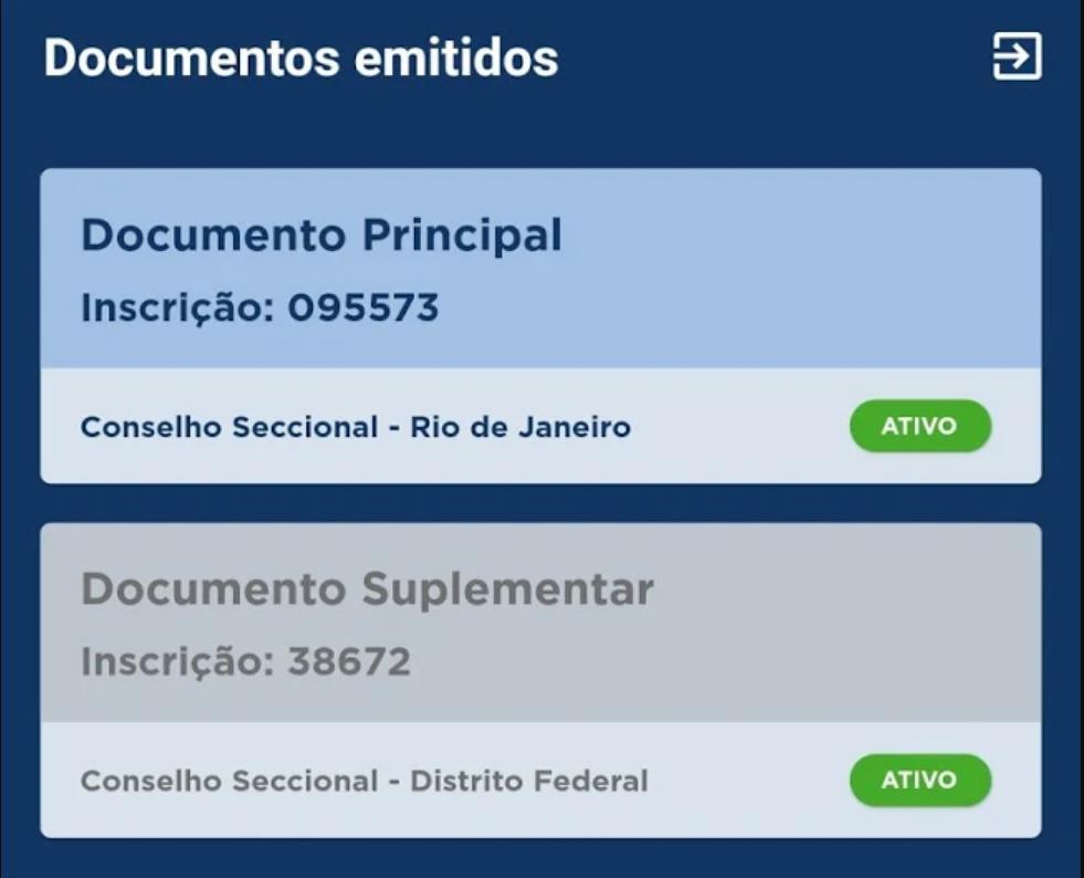 carteira digital da oab documento principal e suplementar