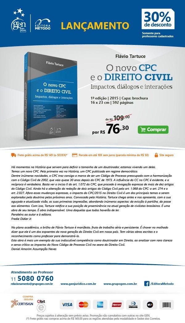 Sorteio Obra O Novo Cdigo de Processo Civil e o Direito Civil