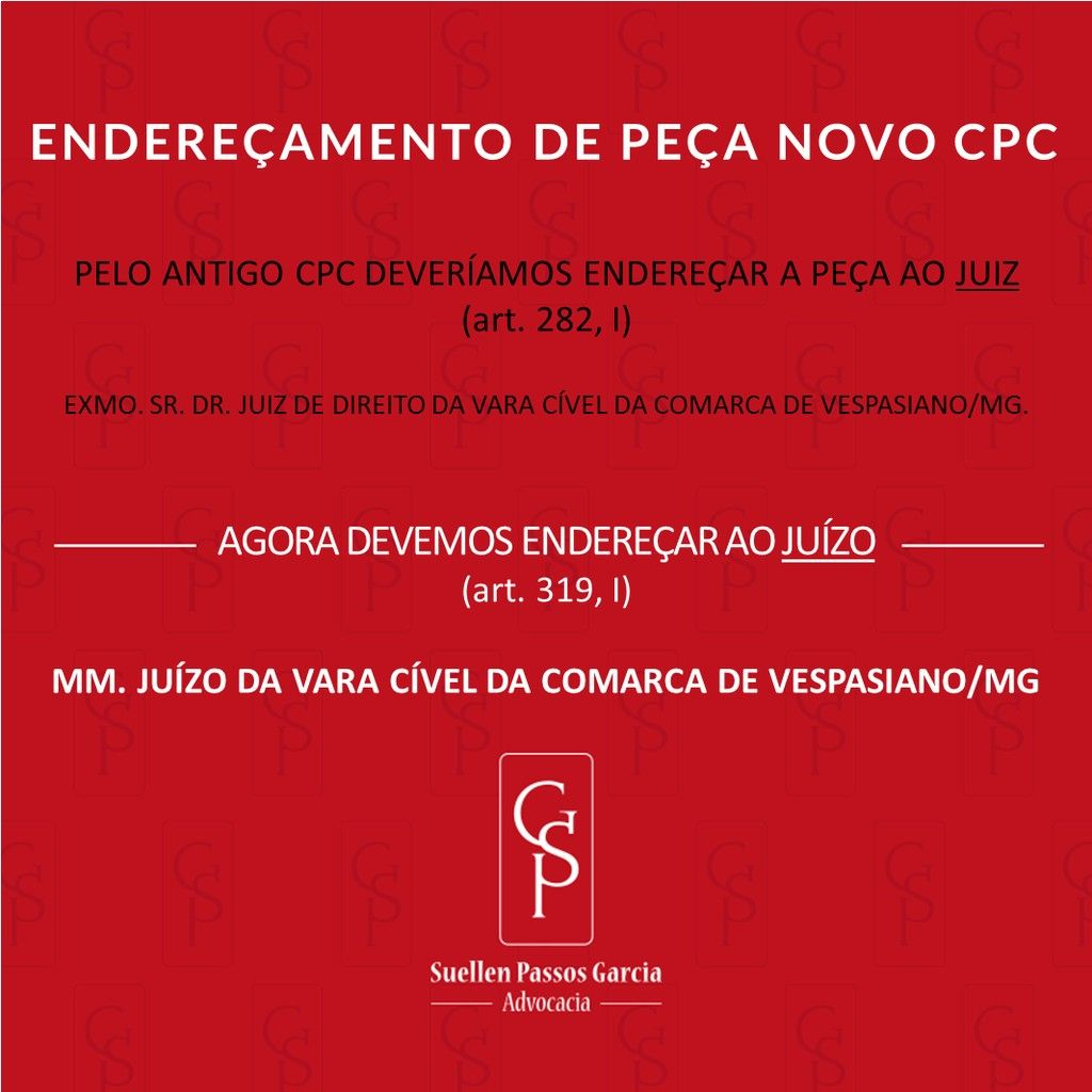 Endereamento de Pea de Acordo com o Novo CPC