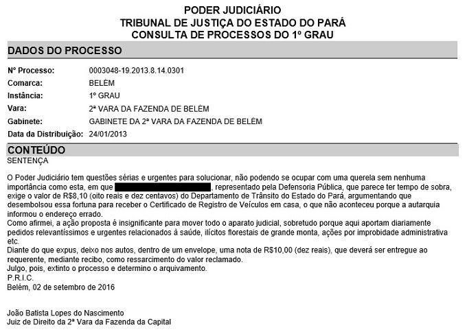 Pretenso judicial de R 810 indigna