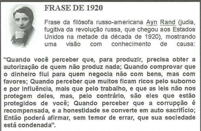 Atualidade Frase da filsofa Ayn Rand