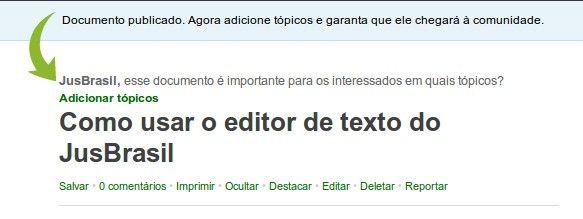 Como usar o editor de texto do JusBrasil
