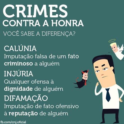 Crimes contra a honra - diferenas entre calnia difamao e injria