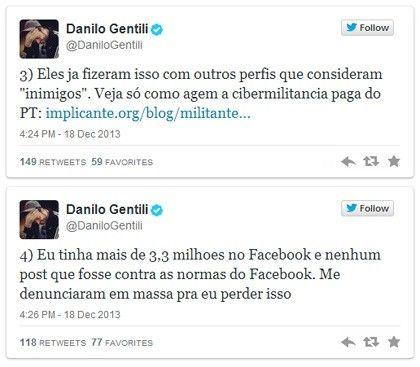 Danilo Gentili censurado no Facebook perde perfil e culpa ciberntica tropa de choque do PT
